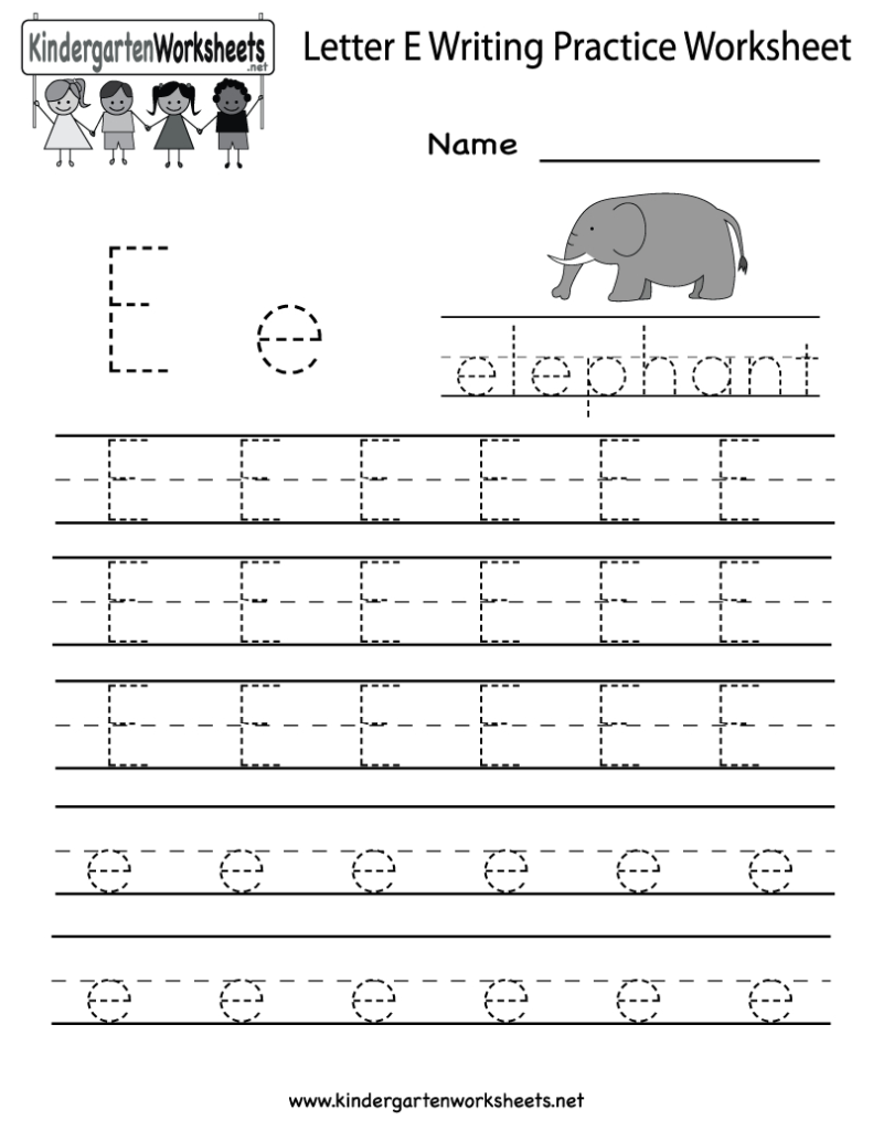 Kindergarten Letter E Writing Practice Worksheet Printable Inside E Letter Worksheets Kindergarten