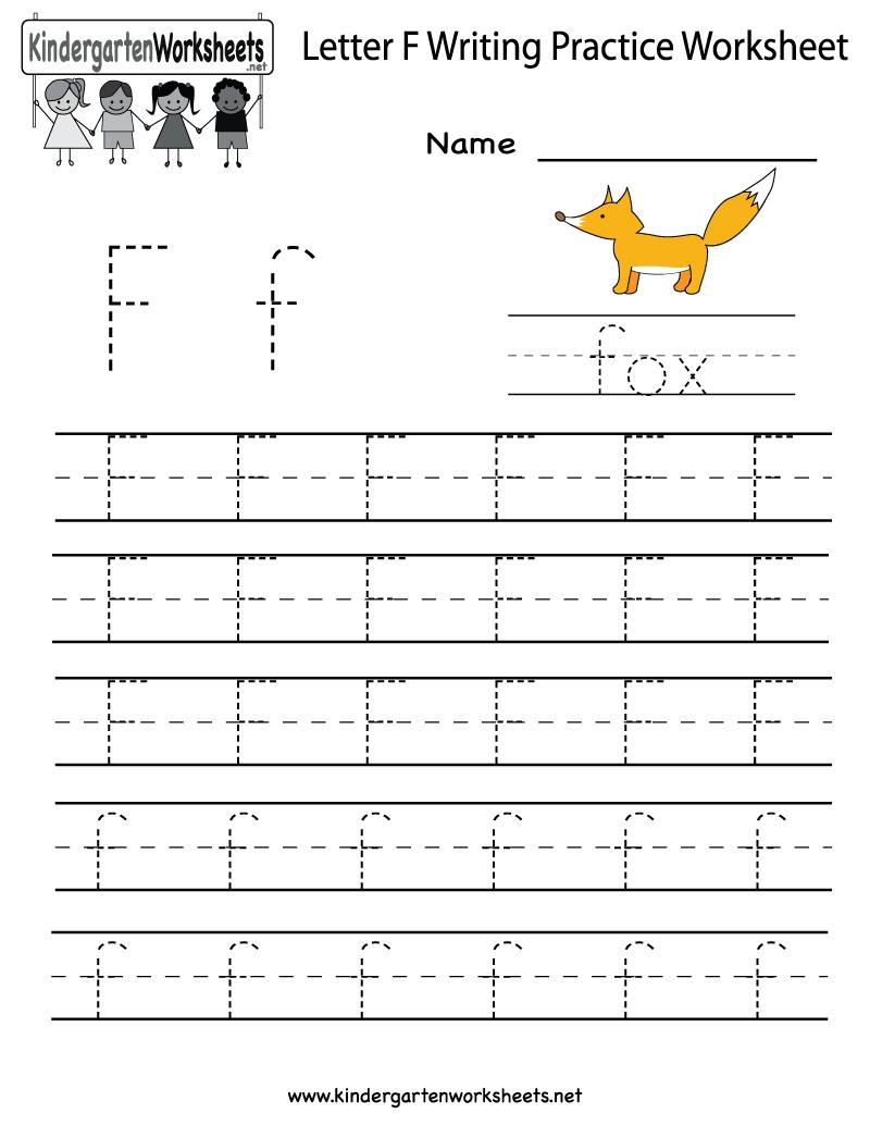 Kindergarten Letter F Writing Practice Worksheet Printable within F Letter Worksheets