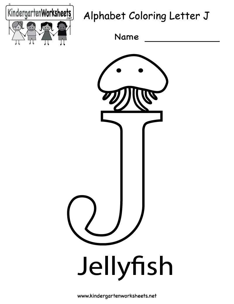 Kindergarten Letter J Coloring Worksheet Printable Alphabet pertaining to Letter J Worksheets For Toddlers