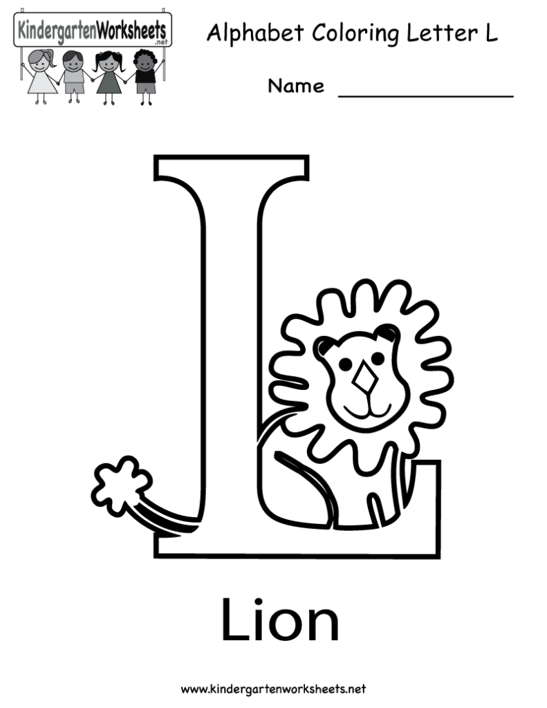 Kindergarten Letter L Coloring Worksheet Printable | English For Letter L Worksheets For Pre K
