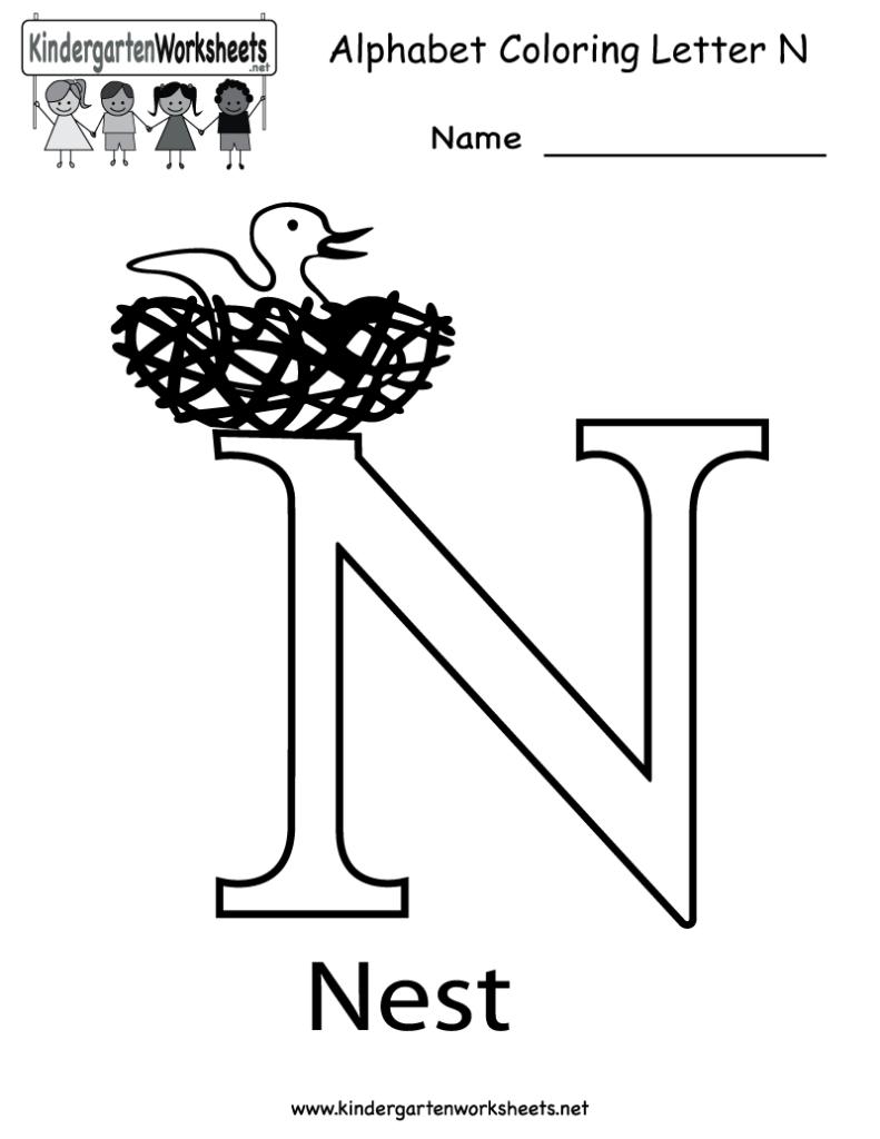 Kindergarten Letter N Coloring Worksheet Printable   English Inside Letter N Worksheets For Toddlers