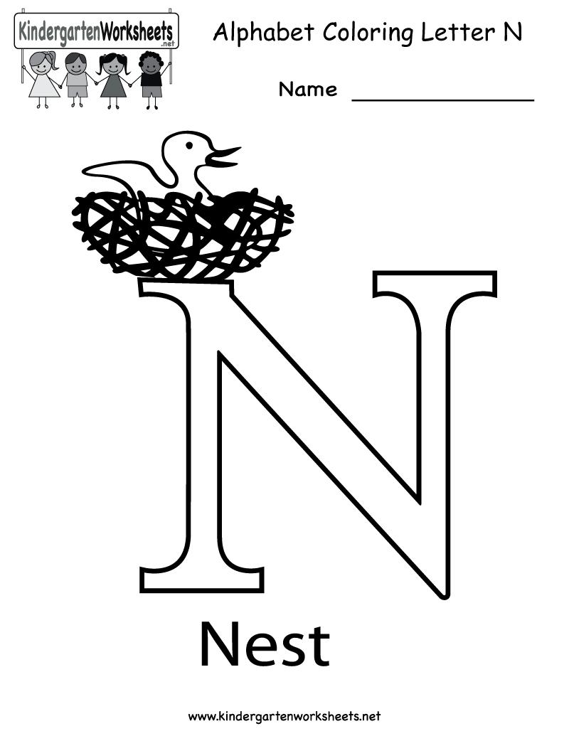 Kindergarten Letter N Coloring Worksheet Printable | English inside Letter N Worksheets For Toddlers