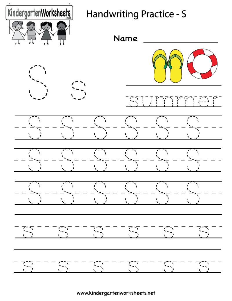 Kindergarten Letter S Writing Practice Worksheet Printable in Alphabet Worksheets Handwriting