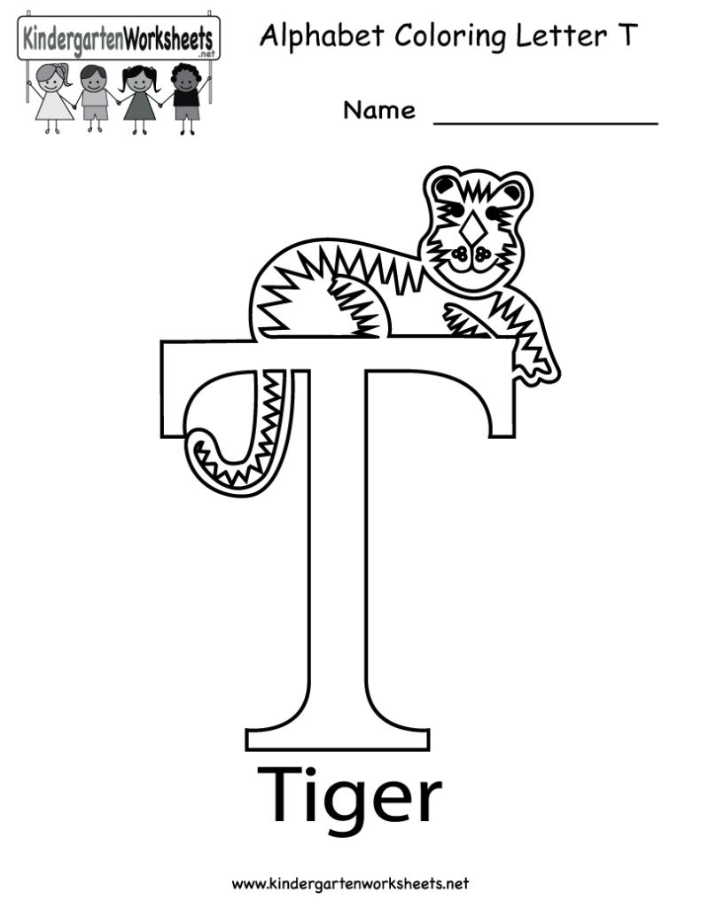 Kindergarten Letter T Coloring Worksheet Printable | Letter Regarding Letter T Worksheets Prek