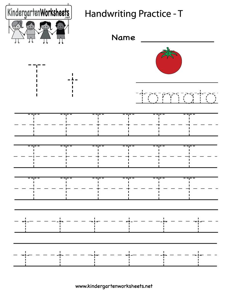 Kindergarten Letter T Writing Practice Worksheet Printable regarding Letter T Worksheets Handwriting