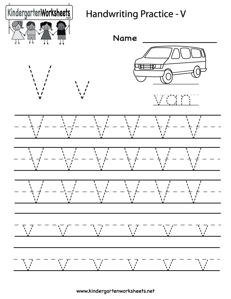 Kindergarten Letter V Writing Practice Worksheet Printable inside Letter V Worksheets Pre K
