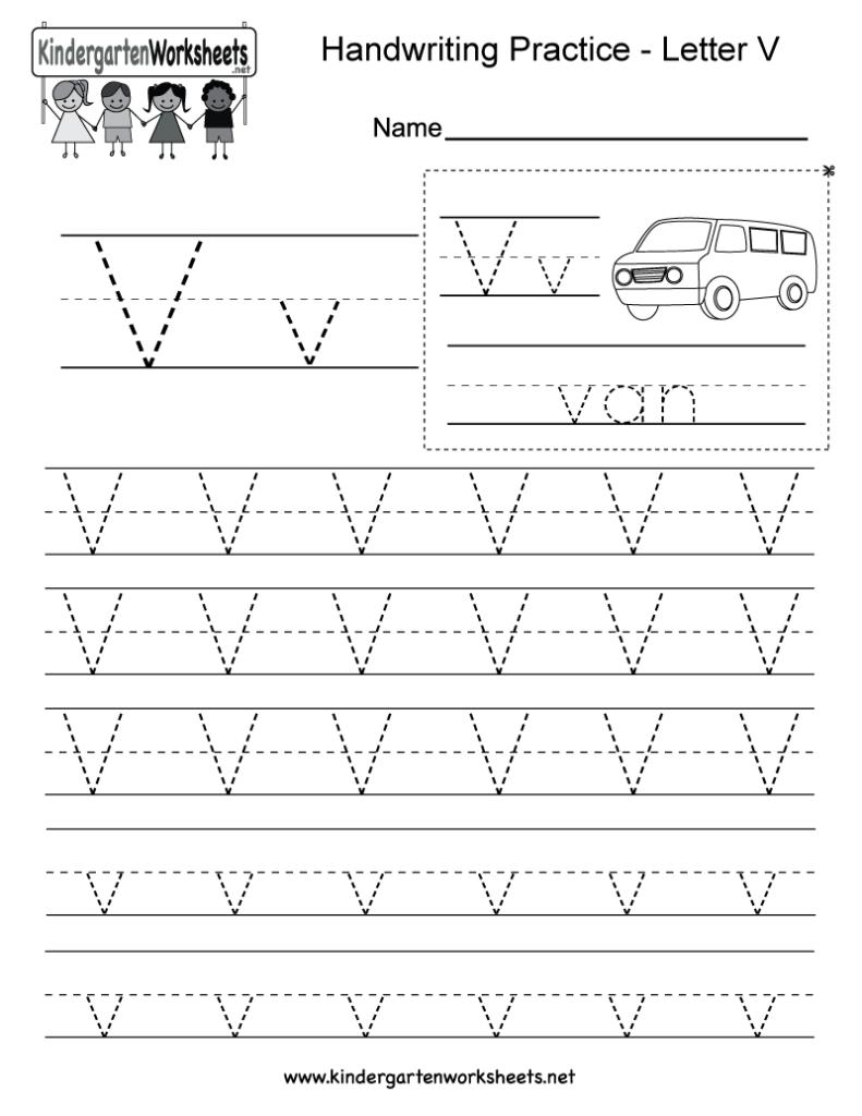 Kindergarten Letter V Writing Practice Worksheet Printable Pertaining To Letter V Worksheets Printable