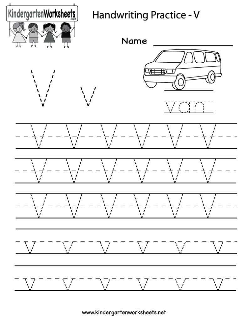 Kindergarten Letter V Writing Practice Worksheet Printable Throughout Letter V Worksheets Printable