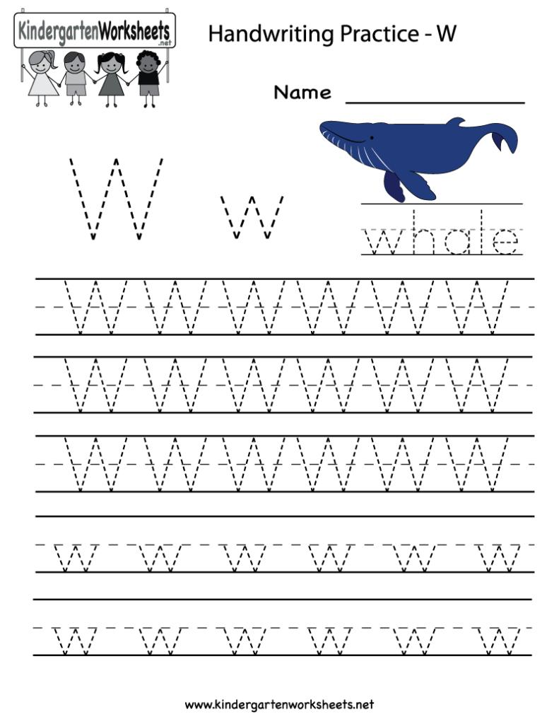 Kindergarten Letter W Writing Practice Worksheet Printable Regarding W Letter Worksheets
