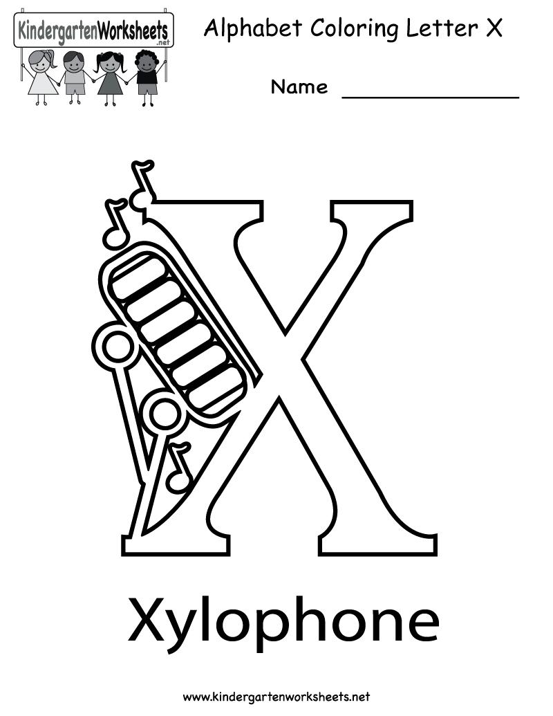 Kindergarten Letter X Coloring Worksheet Printable with Letter X Worksheets For Prek