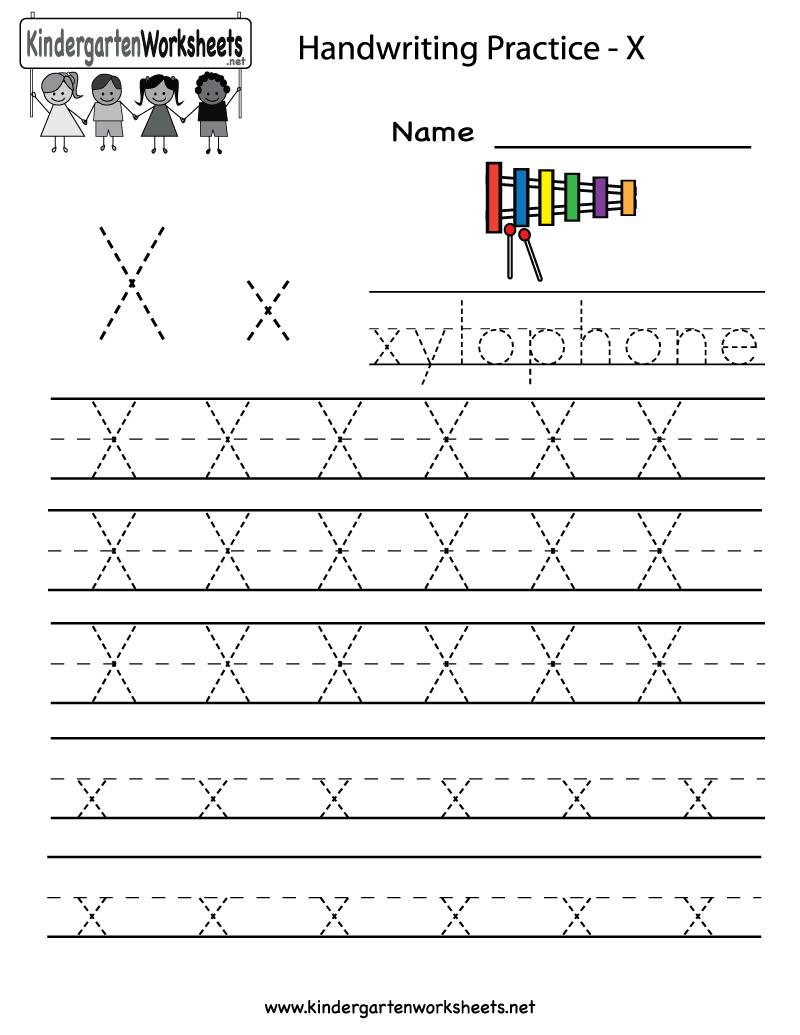 Kindergarten Letter X Writing Practice Worksheet Printable for Letter X Worksheets For Prek