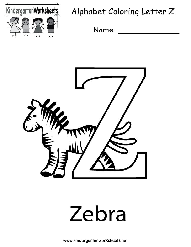 Kindergarten Letter Z Coloring Worksheet Printable | English with Letter Z Worksheets For Preschool