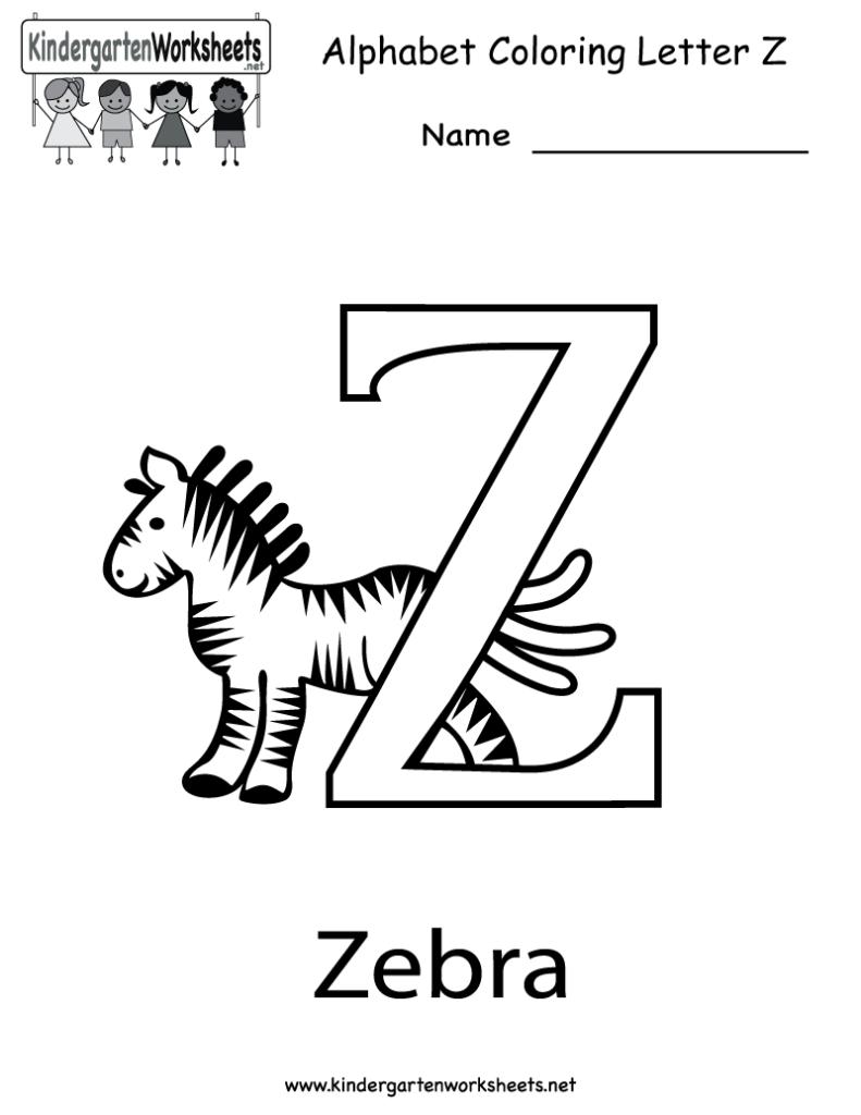 Kindergarten Letter Z Coloring Worksheet Printable | English With Letter Z Worksheets For Toddlers