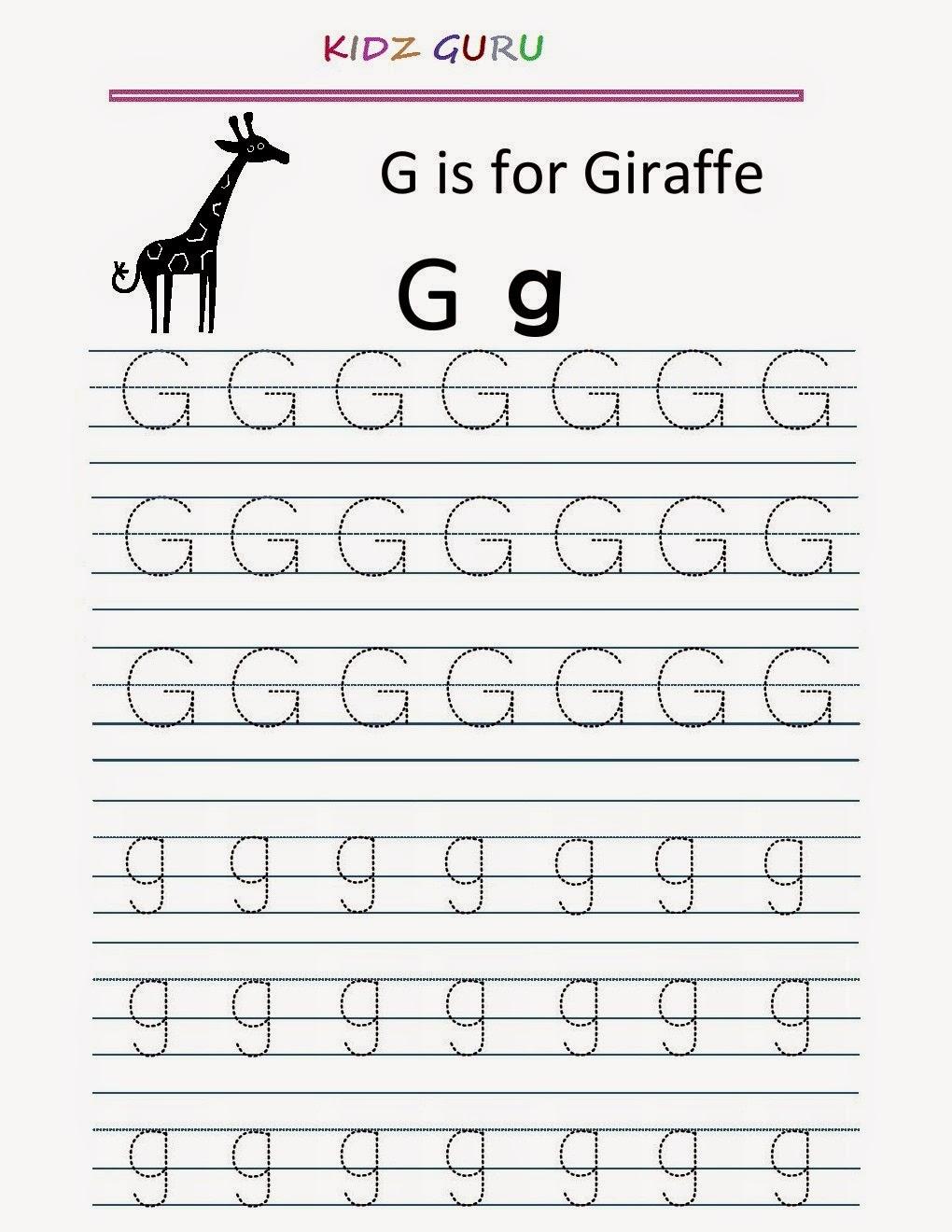 Kindergarten Worksheets: Printable Tracing Worksheet inside Alphabet G Worksheets