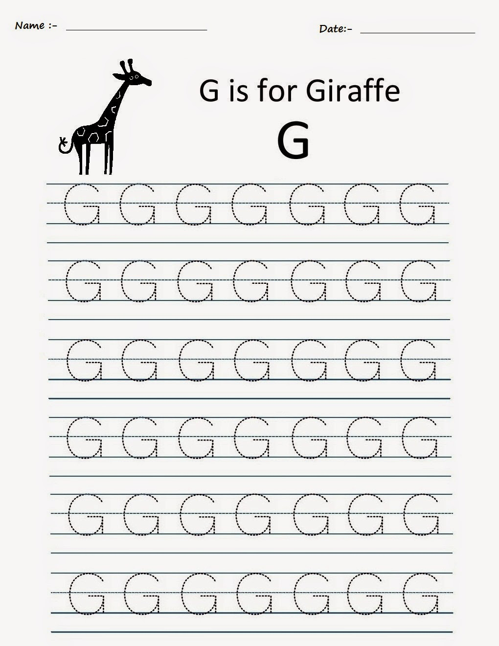 Kindergarten Worksheets: Printable Tracing Worksheets pertaining to Alphabet G Worksheets