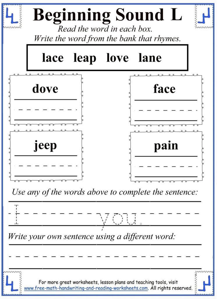 L Letter Worksheets In Letter L Worksheets For First Grade