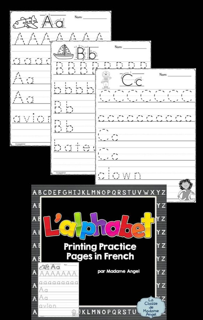 L'alphabet Français! Set Of 26 Alphabet Practice Printing Regarding French Alphabet Worksheets Grade 1