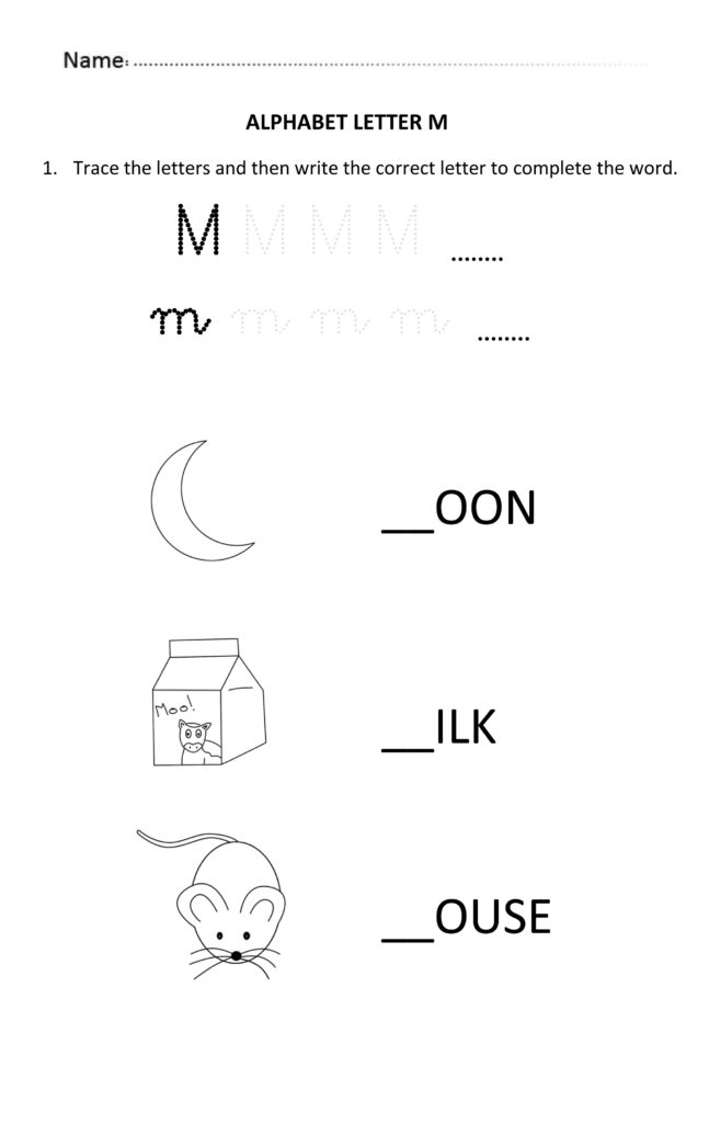 Learning And Writing Letter M For 5 And 6 Years Old Students Throughout Alphabet Worksheets For 5 Year Olds