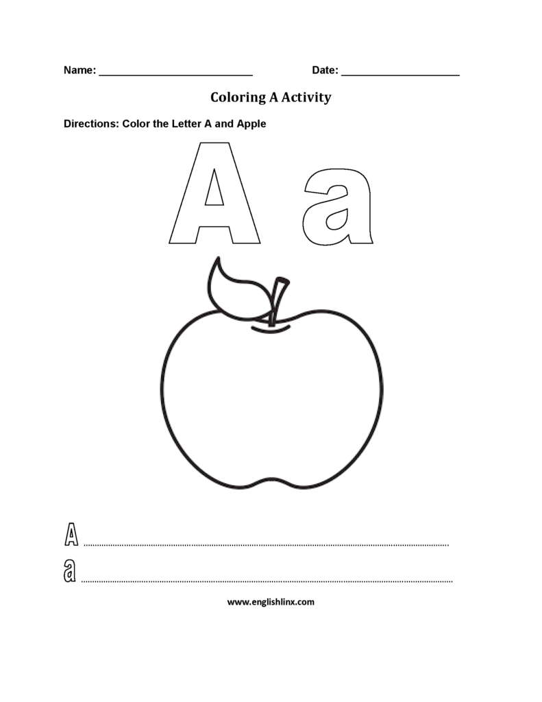 Letter A Alphabet Coloring Pages Worksheets | Afrikaans For Letter A Alphabet Worksheets