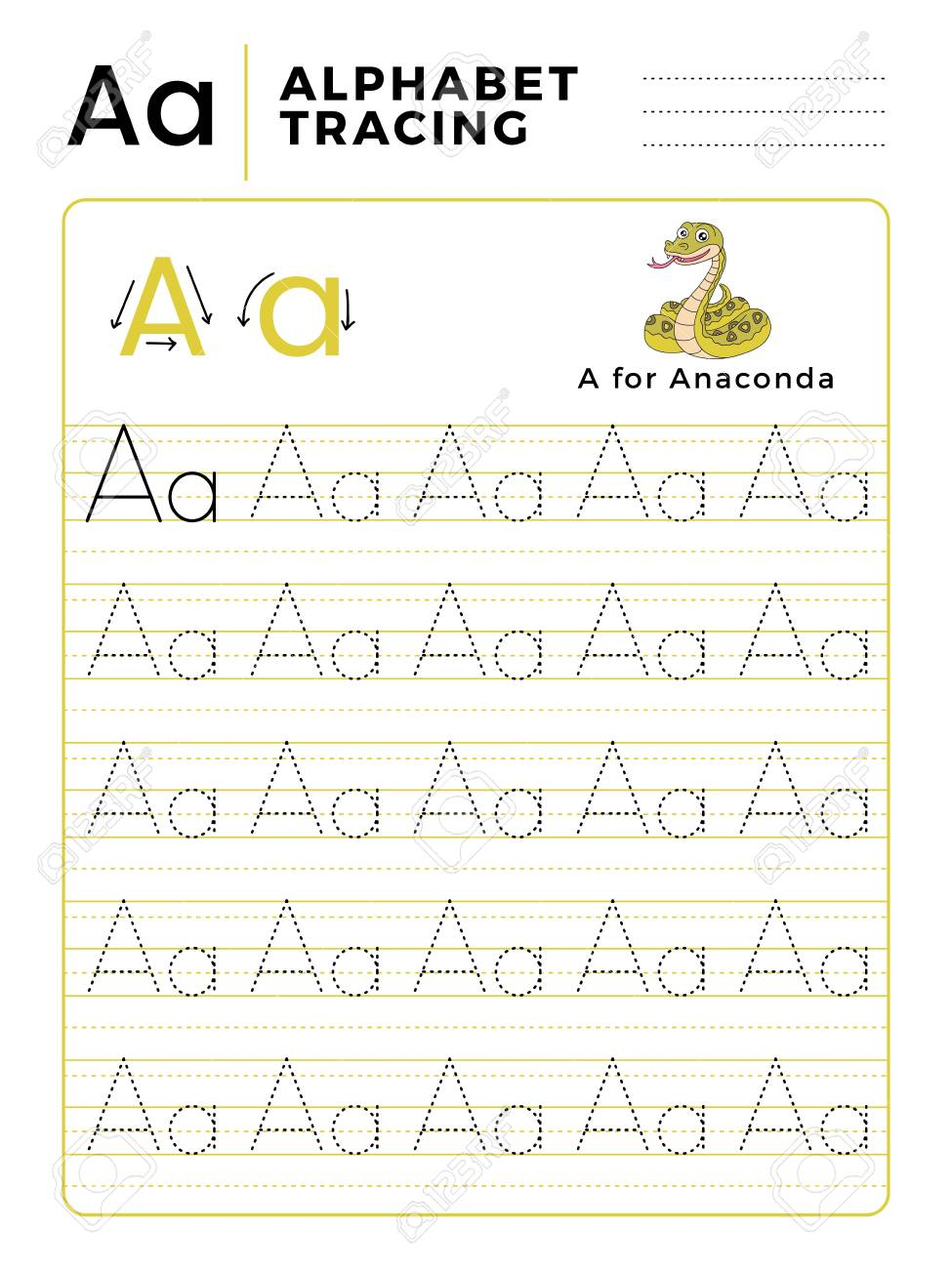 Letter A Alphabet Tracing Book With Example And Funny Anaconda.. for Letter A Alphabet Worksheets