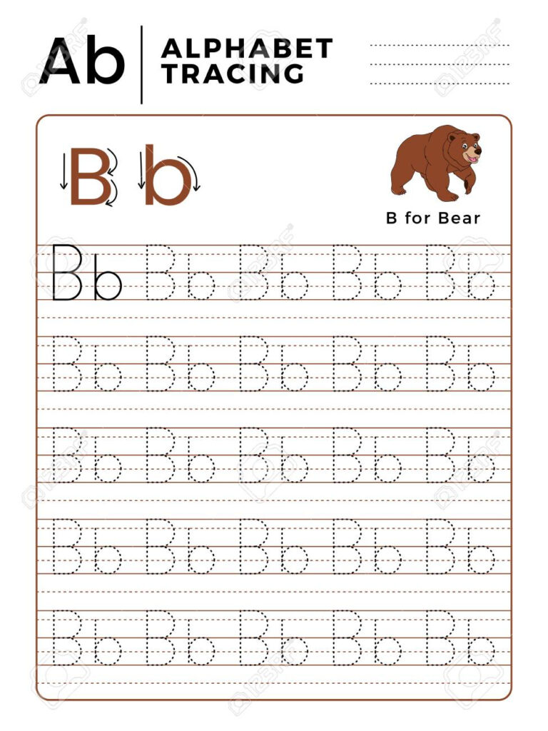 Letter B Alphabet Tracing Book With Example And Funny Bear Cartoon Inside Alphabet Tracing Worksheets B