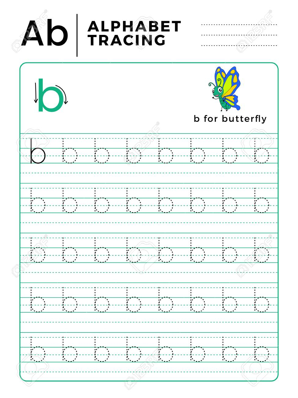 Letter B Alphabet Tracing Book With Example And Funny Butterfly.. with Letter B Worksheets For Preschool Free
