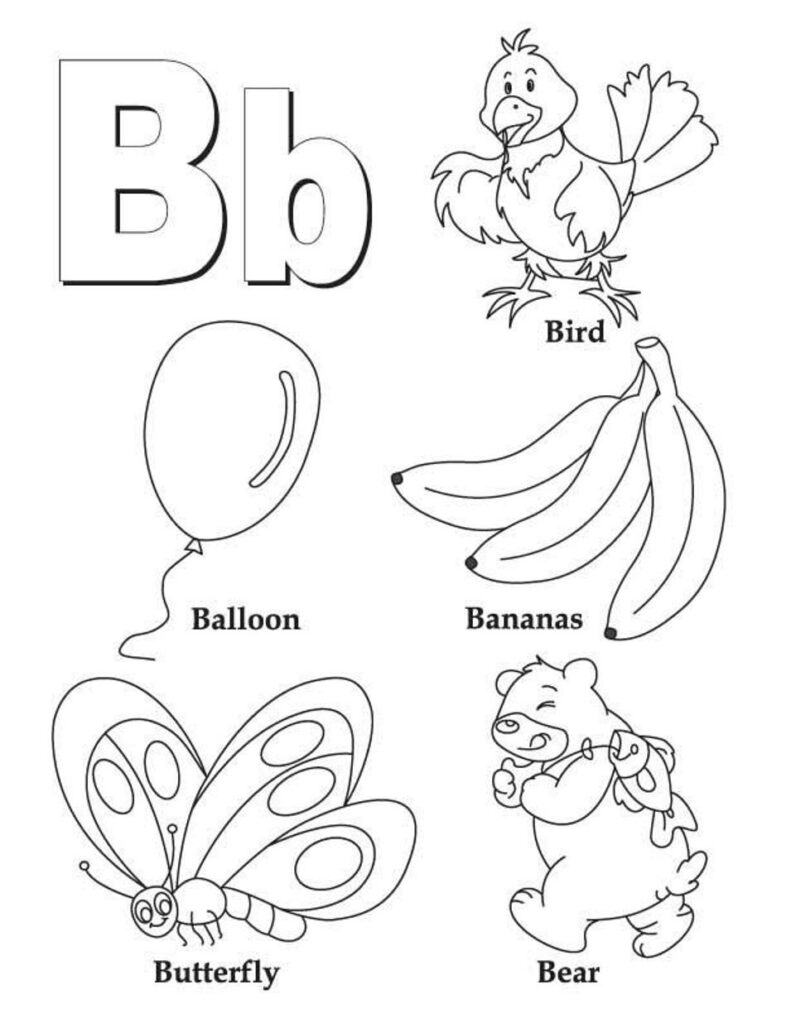 Letter B Coloring Pages   Preschool And Kindergarten Inside Alphabet Colouring Worksheets For Kindergarten