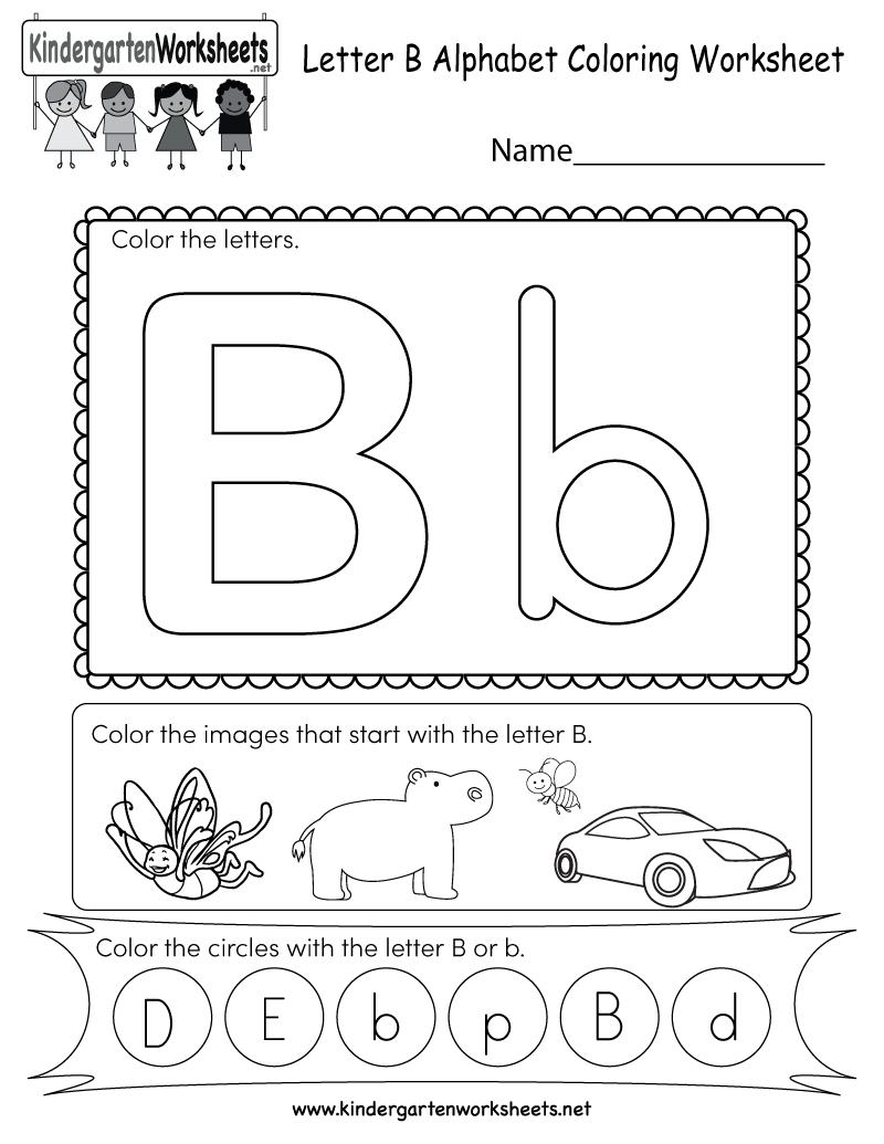 Letter B Coloring Worksheet - Free Kindergarten English with Alphabet Worksheets Letter B