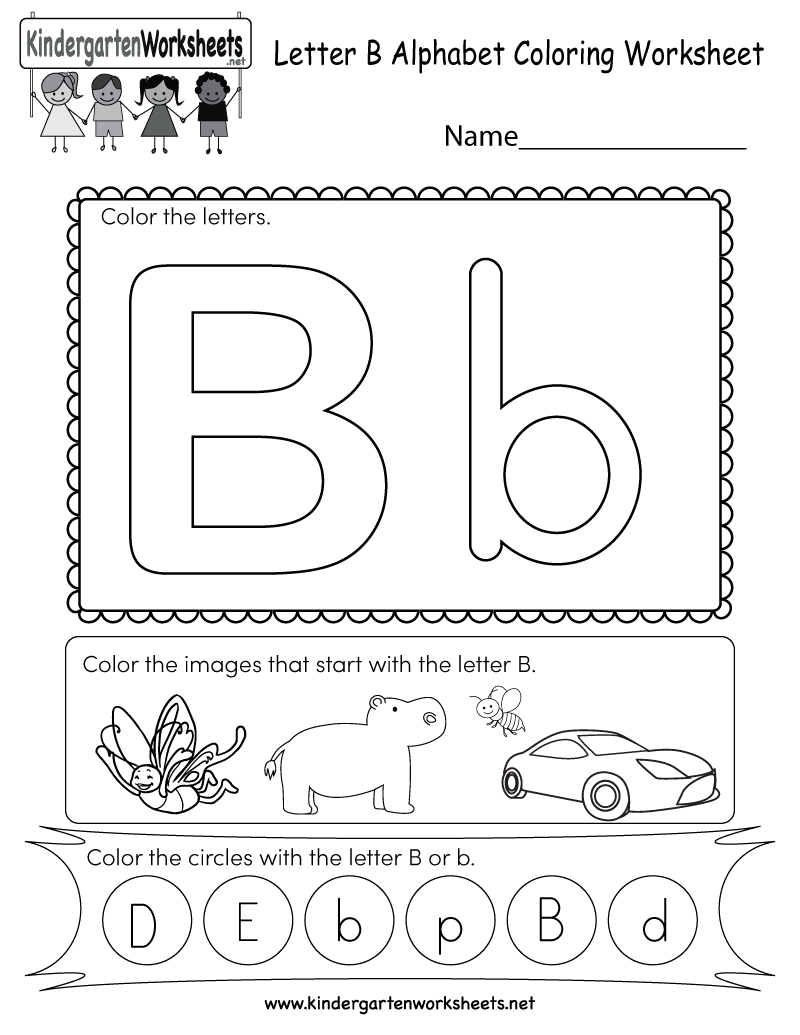 Letter B Coloring Worksheet - Free Kindergarten English within Letter B Worksheets Pdf