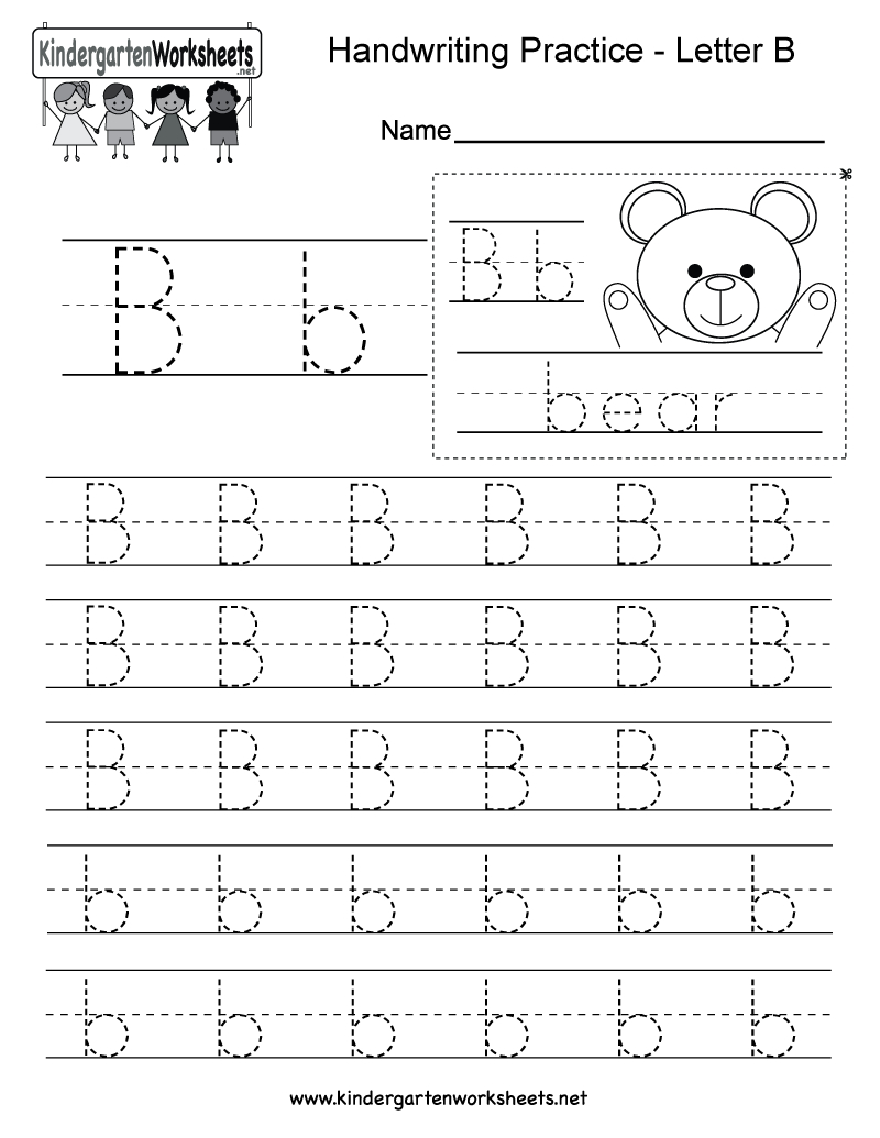 Letter B Writing Practice Worksheet - Free Kindergarten within Letter B Worksheets Pdf