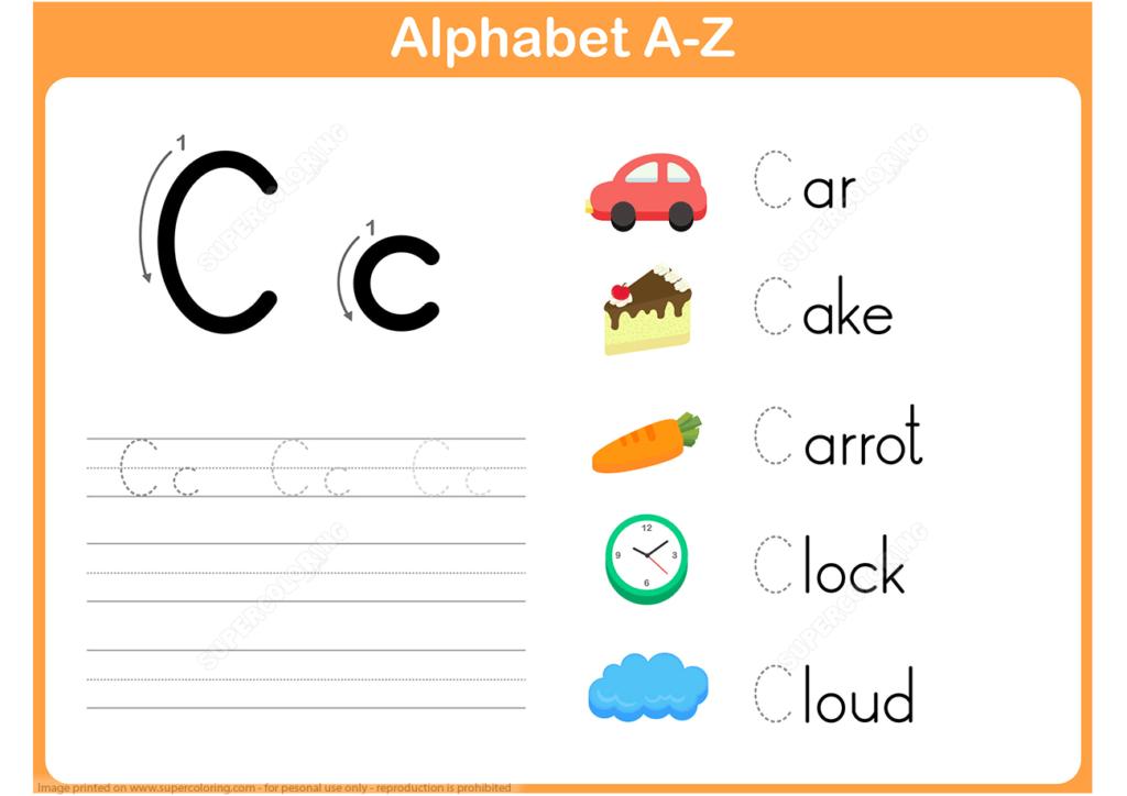 Letter C Tracing Worksheet | Super Coloring | Alphabet Inside Letter C Worksheets Super Teacher
