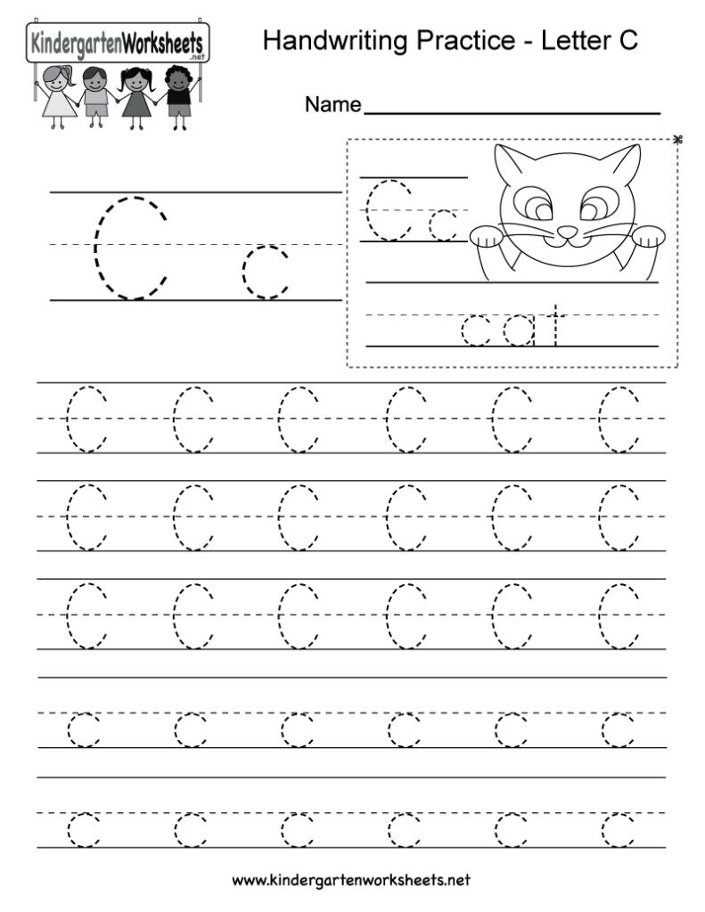 Letter C Writing Practice Worksheet   Free Kindergarten Throughout Letter C Worksheets Pdf