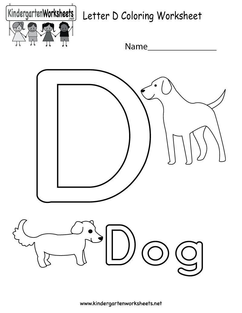 Letter D Coloring Worksheet For Kids In Preschool Or regarding Letter D Worksheets For Pre K