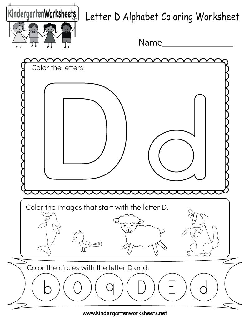 Letter D Coloring Worksheet - Free Kindergarten English within D Letter Worksheets