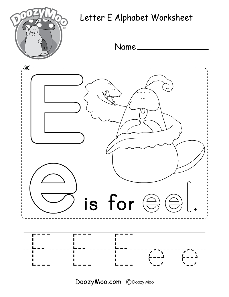 Letter E Alphabet Activity Worksheet - Doozy Moo throughout Alphabet Worksheets Letter E
