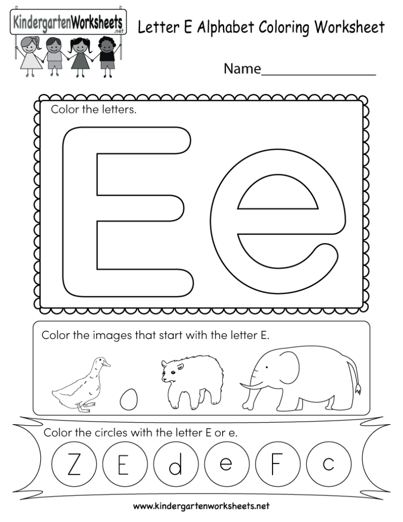 Letter E Coloring Worksheet   Free Kindergarten English Within Alphabet Worksheets Letter E