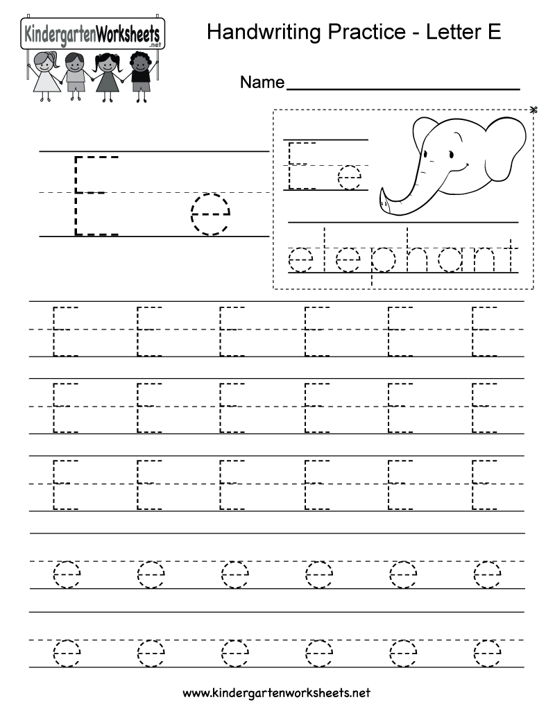Letter E Writing Practice Worksheet - Free Kindergarten inside E Letter Worksheets Kindergarten
