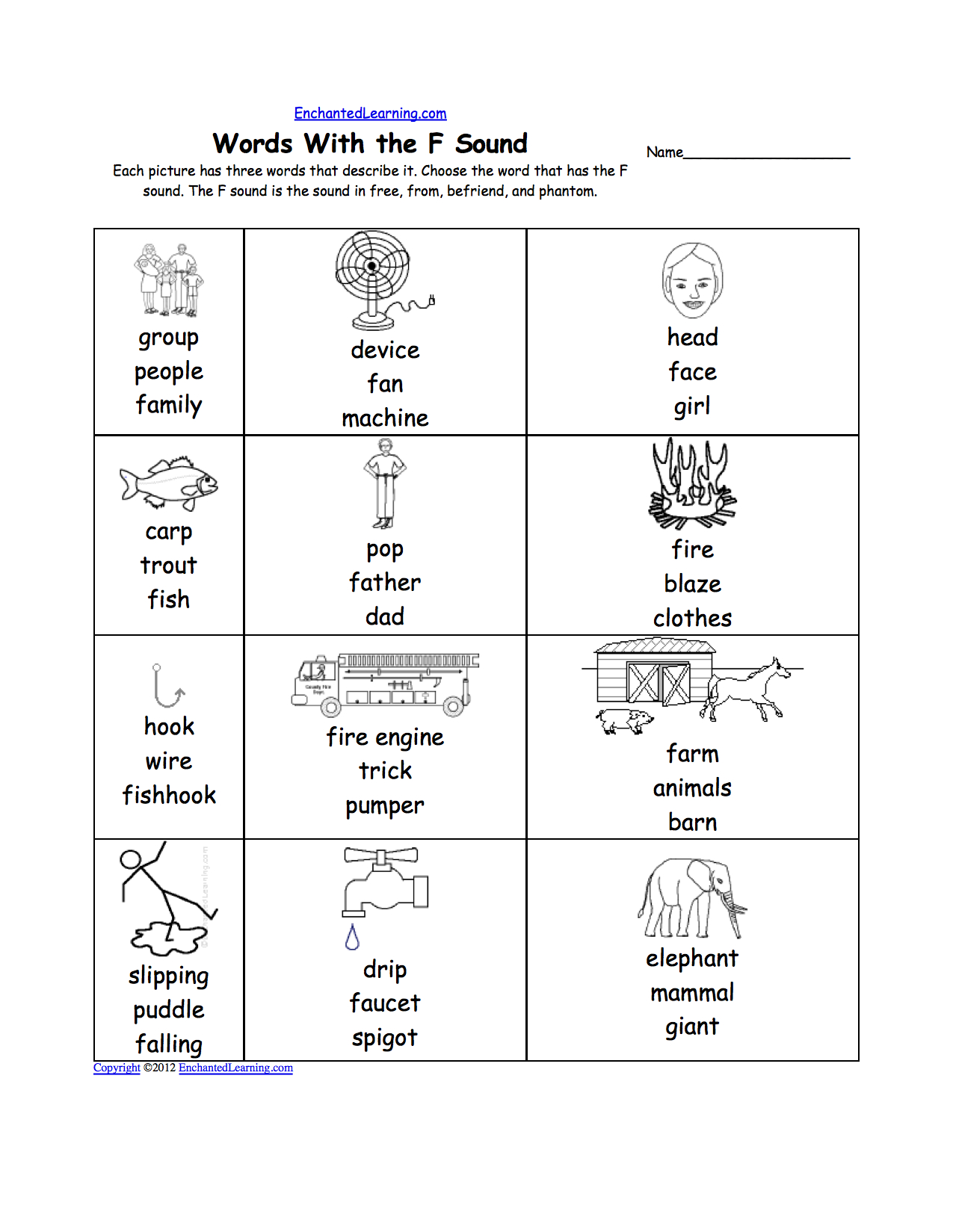 Letter F Alphabet Activities At Enchantedlearning with regard to Letter F Worksheets For 1St Grade