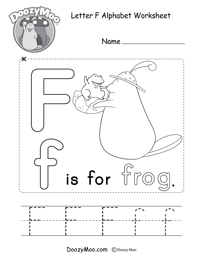 Letter F Alphabet Activity Worksheet - Doozy Moo with regard to Letter F Worksheets Pdf Free