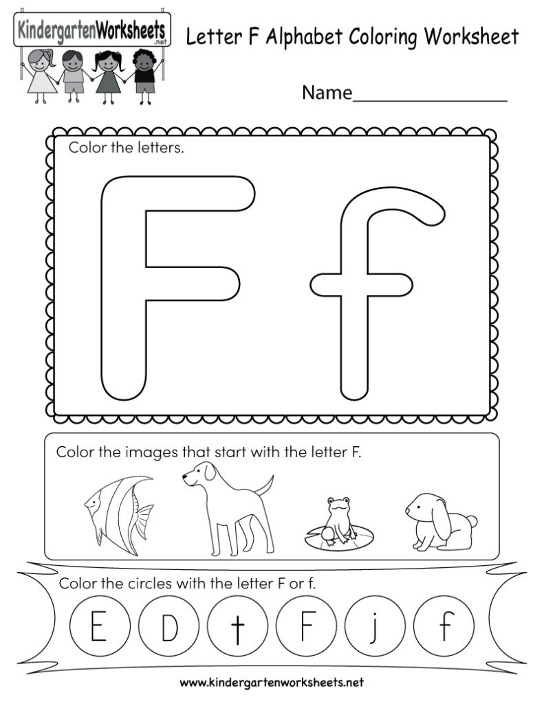 Letter F Coloring Worksheet   Free Kindergarten English Within F Letter Worksheets
