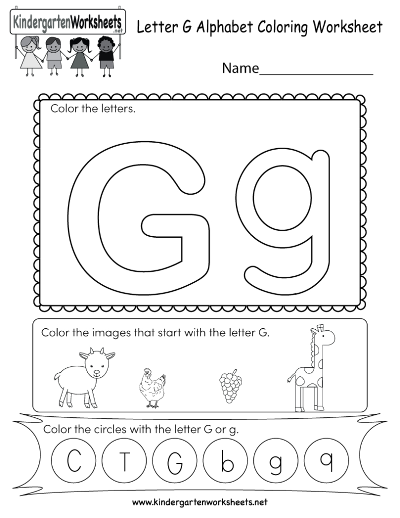 Letter G Coloring Worksheet   Free Kindergarten English Intended For Letter G Worksheets For Kinder