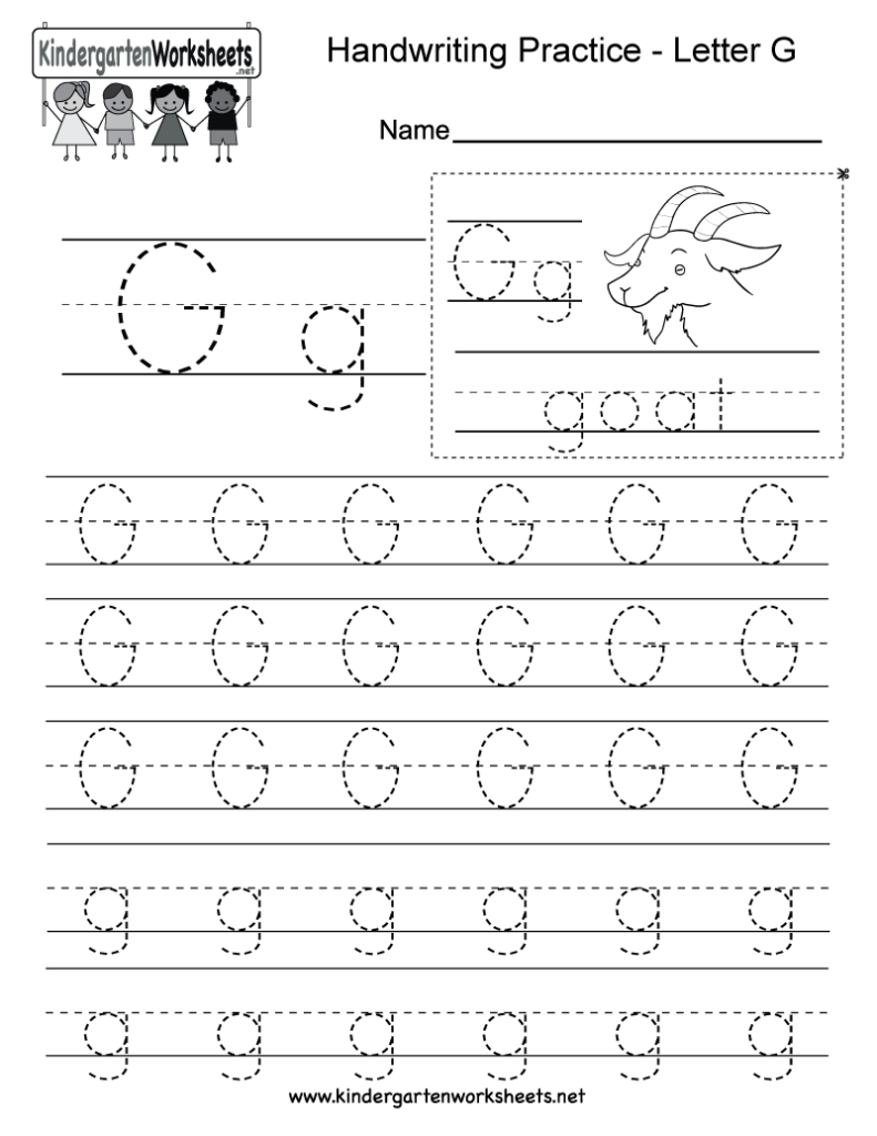 Letter G Writing Practice Worksheet   Free Kindergarten Inside Letter G Worksheets For Preschool
