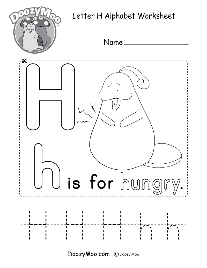 Letter H Alphabet Activity Worksheet - Doozy Moo for H Letter Worksheets