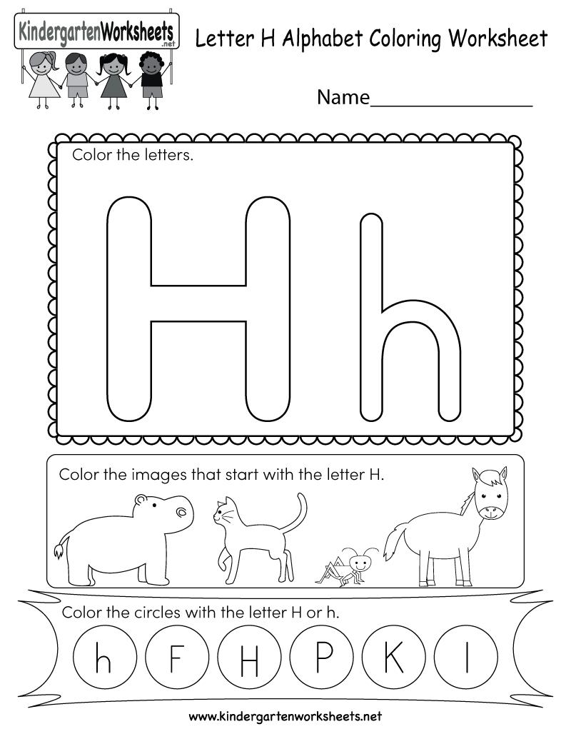 Letter H Coloring Worksheet - Free Kindergarten English for Alphabet Worksheets H