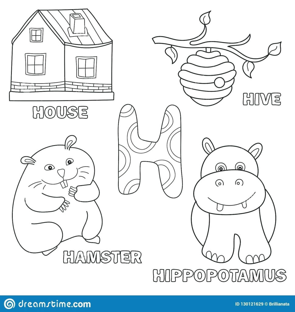 Letter H Coloring Worksheets – Giftedpaper.co In Letter H Worksheets For Toddlers