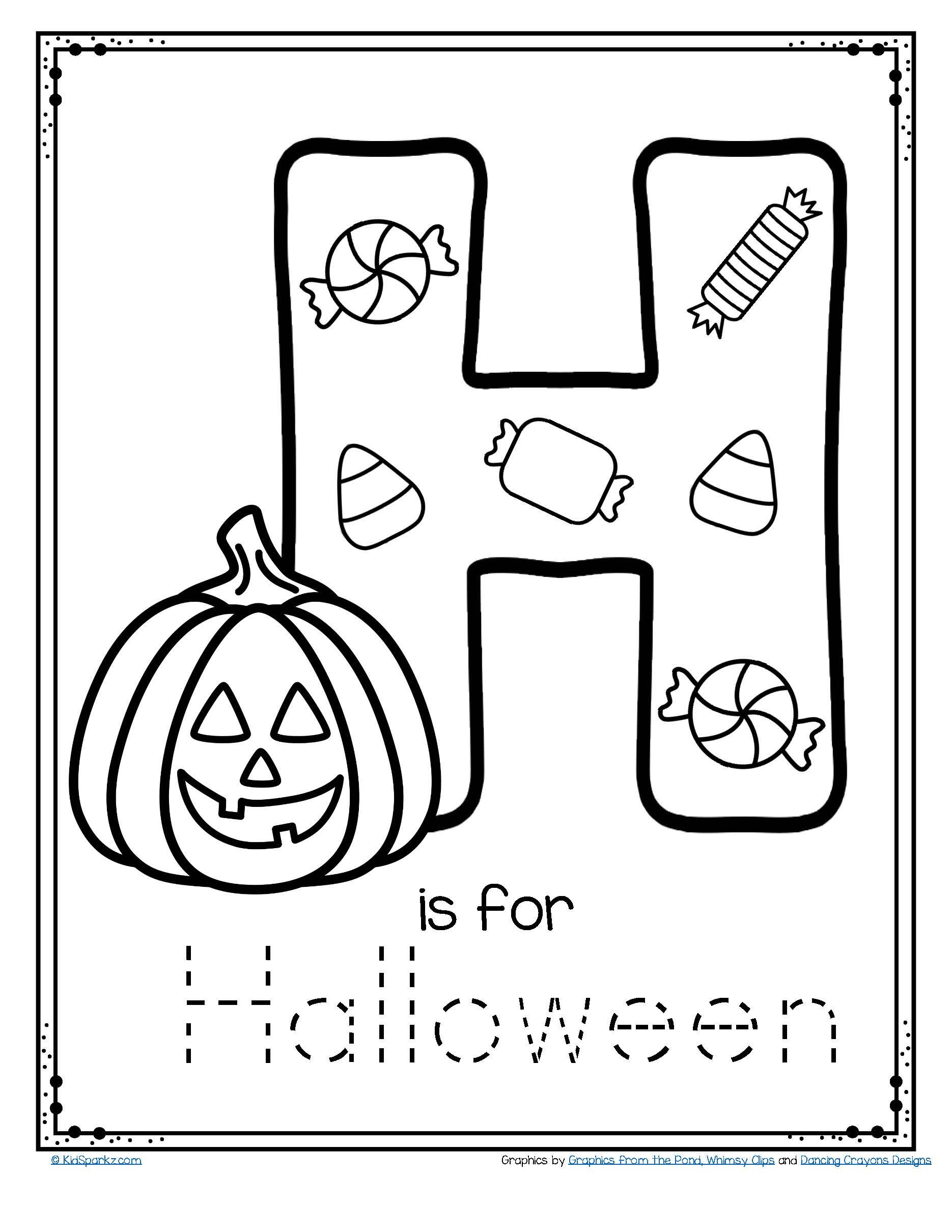 Letter H Is For Halloween Trace And Color Printable Free within Alphabet Halloween Worksheets