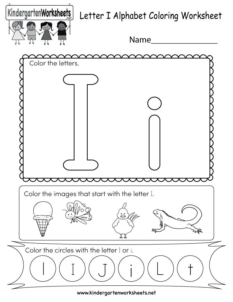 Letter I Coloring Worksheet - Free Kindergarten English for Alphabet Worksheets Letter I