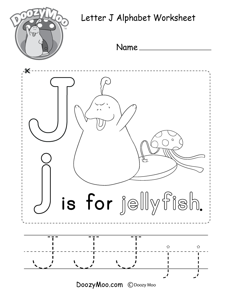 Letter J Alphabet Activity Worksheet - Doozy Moo throughout Alphabet J Worksheets