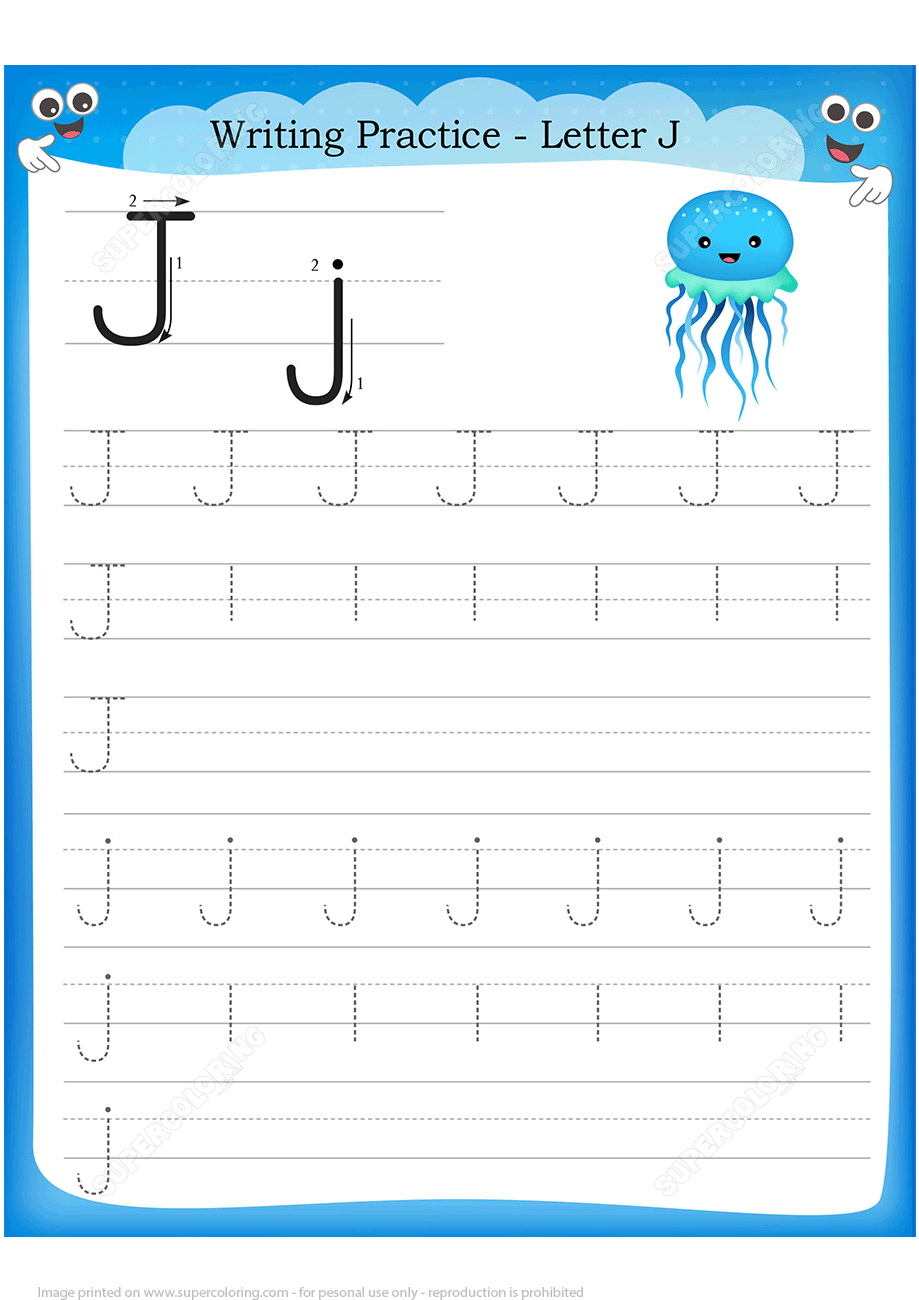 Letter J Is For Jellyfish Handwriting Practice Worksheet inside J Letter Worksheets