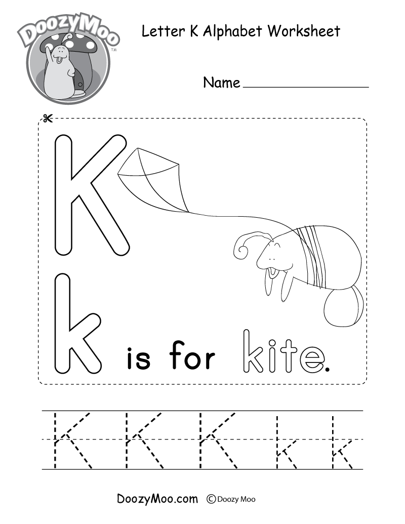 Letter K Alphabet Activity Worksheet - Doozy Moo within Letter K Worksheets For Preschool